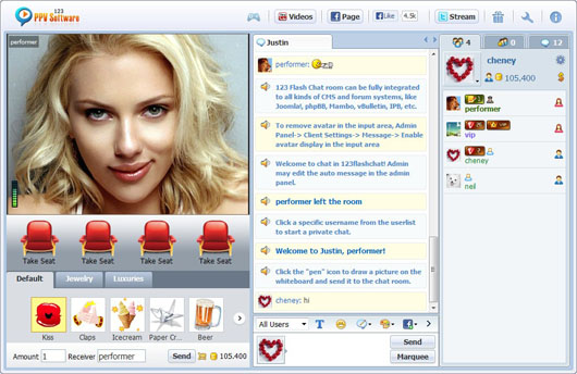 123 PPV Software Chat Software Performer User List, Webcam Chat, HTML Chat, Live PPV Software, Video Chat