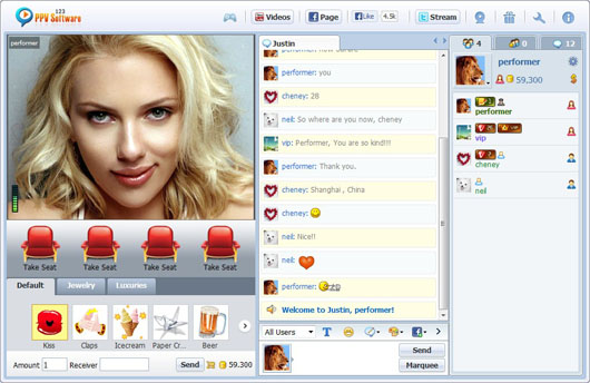 123 PPV Software Chat Software Performer Chat HD Video, Webcam Chat, HTML Chat, Live PPV Software, Video Chat