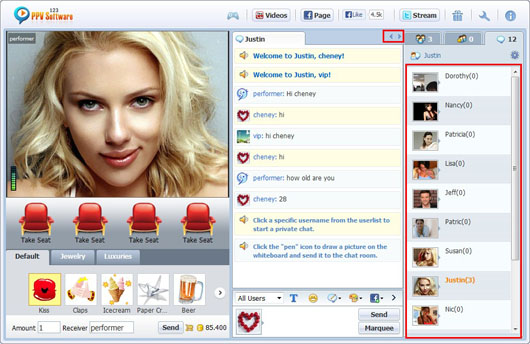 123 PPV Software Chat Software Switch Room, Webcam Chat, HTML Chat, Live PPV Software, Video Chat