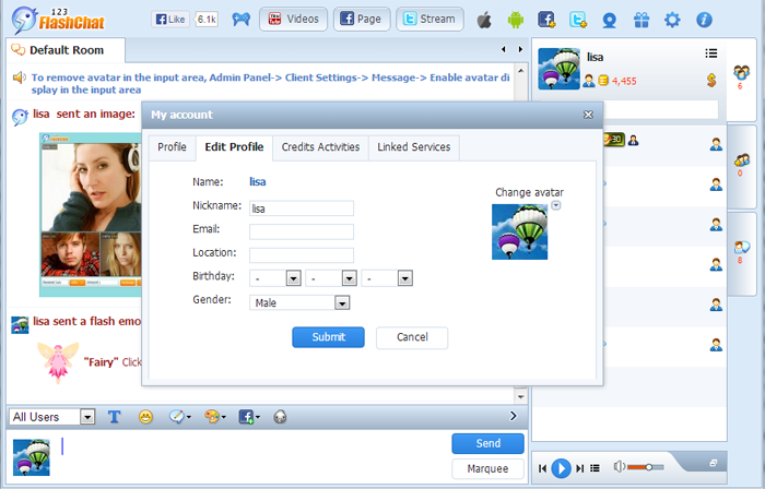 Nickname Setting of 123FlashChat, Video Chat, Flash Chat, Chat Software, PHP Chat