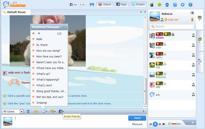 Predefined Messages of 123FlashChat, Video Chat, Flash Chat, Chat Software, PHP Chat