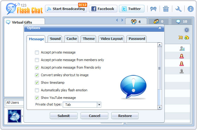 User Option of 123FlashChat, Video Chat, Flash Chat, Chat Software, PHP Chat
