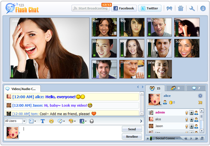 Chat room video chat