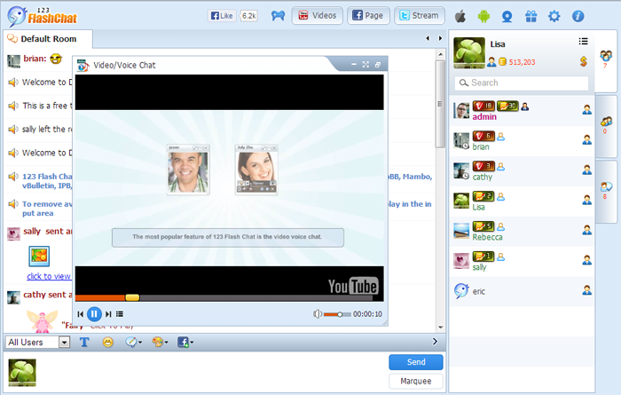 Free video flash chat room