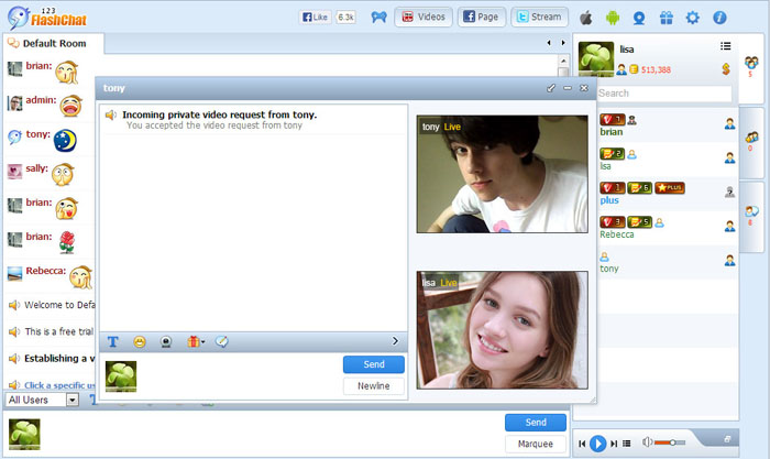 Private Video Chat of 123FlashChat, Video Chat, Flash Chat, Chat Software, PHP Chat